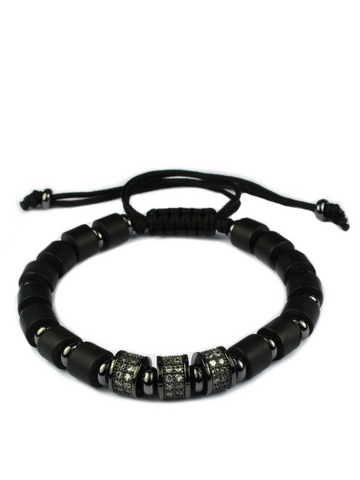 Men's Macrame Bracelet with Matte Onyx