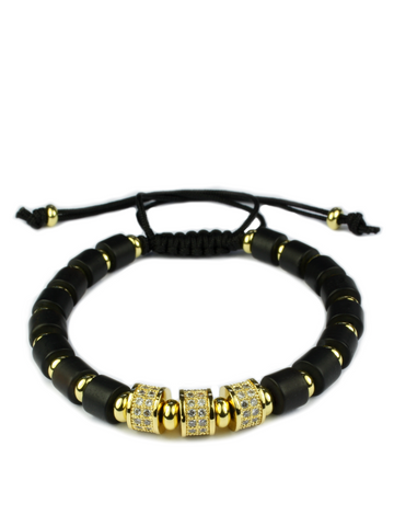 Men's Macrame Bracelet with Matte Onyx Gold