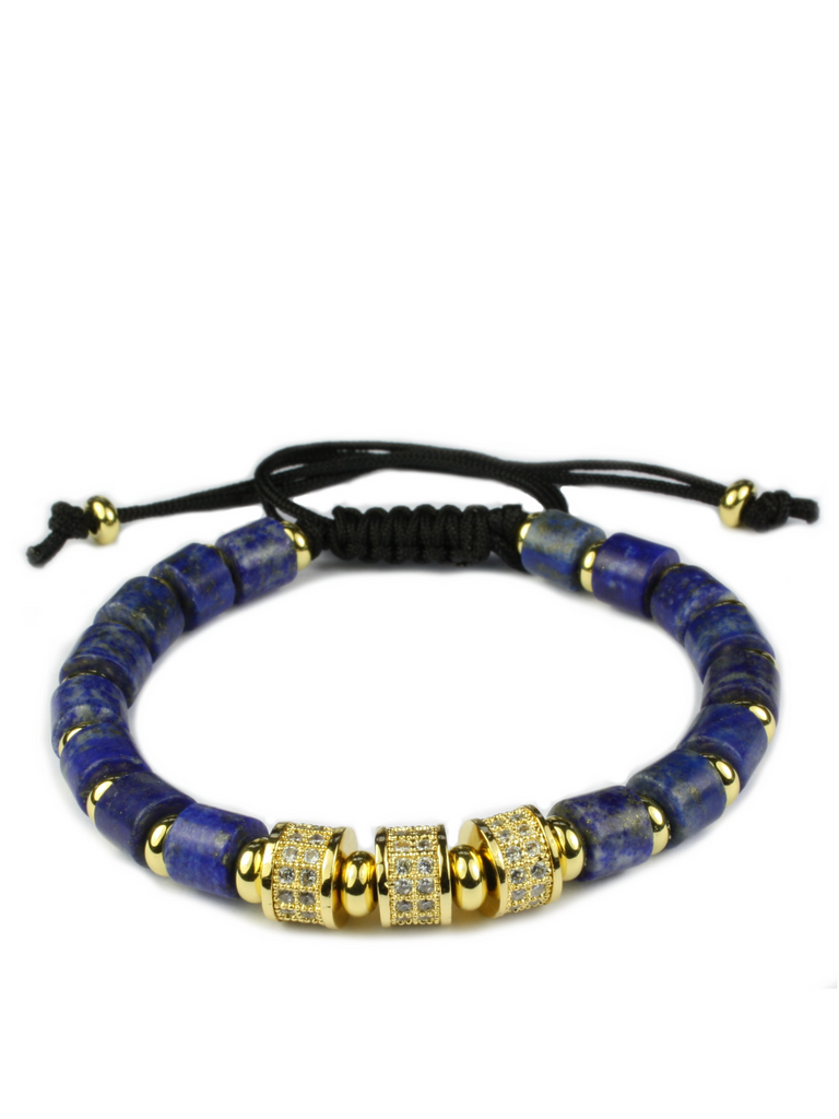 Men's Macrame Bracelet with Blue Lapis