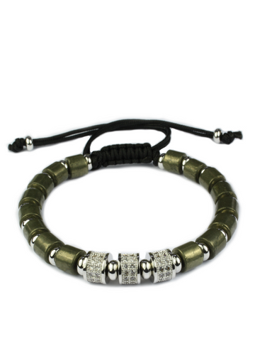 Men's Macrame Bracelet with Pyrite