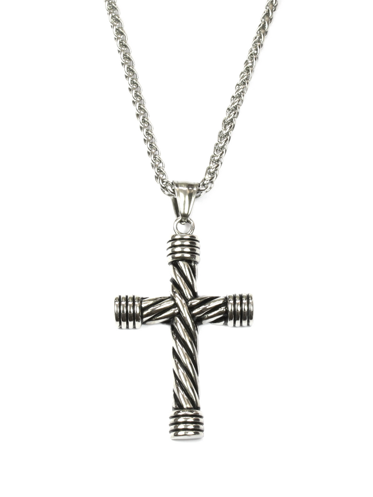 Men's Necklace with Twisted Cross Silver