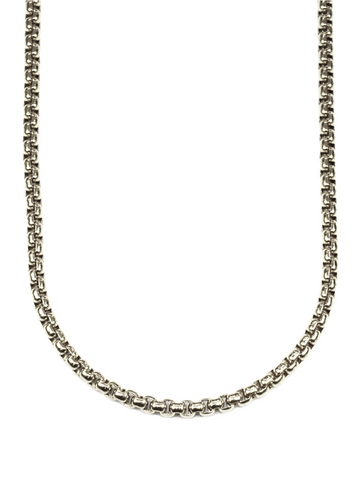 Men's Box Chain Necklace Silver