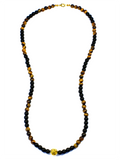 Men's Beaded Necklace with Matte Onyx, Brown Tiger Eye and Gold | Clariste Jewelry - 2