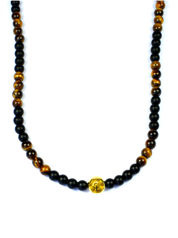 Men's Beaded Necklace with Matte Onyx, Brown Tiger Eye and Gold