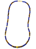 Men's Beaded Necklace with Blue Lapis, Brown Tiger Eye and Gold | Clariste Jewelry - 2