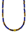 Men's Beaded Necklace with Blue Lapis, Brown Tiger Eye and Gold | Clariste Jewelry