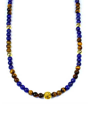 Men's Beaded Necklace with Blue Lapis, Brown Tiger Eye and Gold