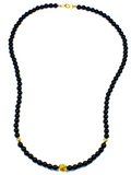 Men's Beaded Necklace with Black Agate and Gold | Clariste Jewelry - 2