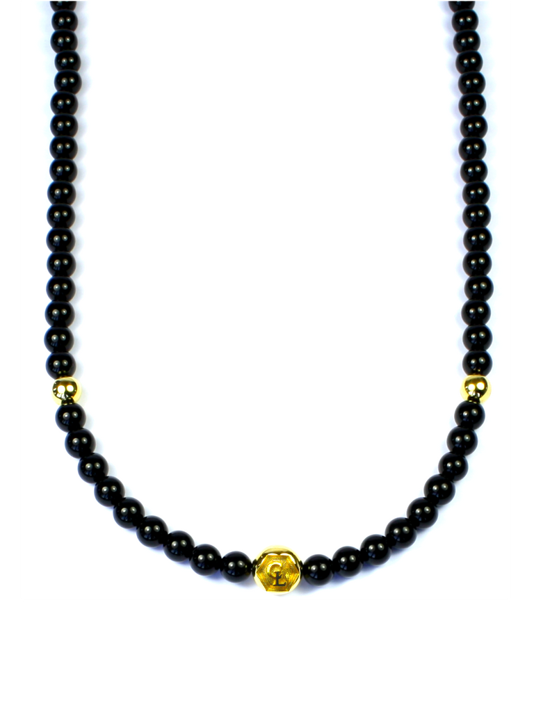 Men's Beaded Necklace with Black Agate and Gold