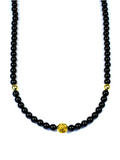 Men's Beaded Necklace with Black Agate and Gold | Clariste Jewelry