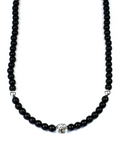 Men's Beaded Necklace with Matte Onyx and Silver | Clariste Jewelry