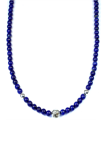 Men's Beaded Necklace with Blue Lapis and Silver