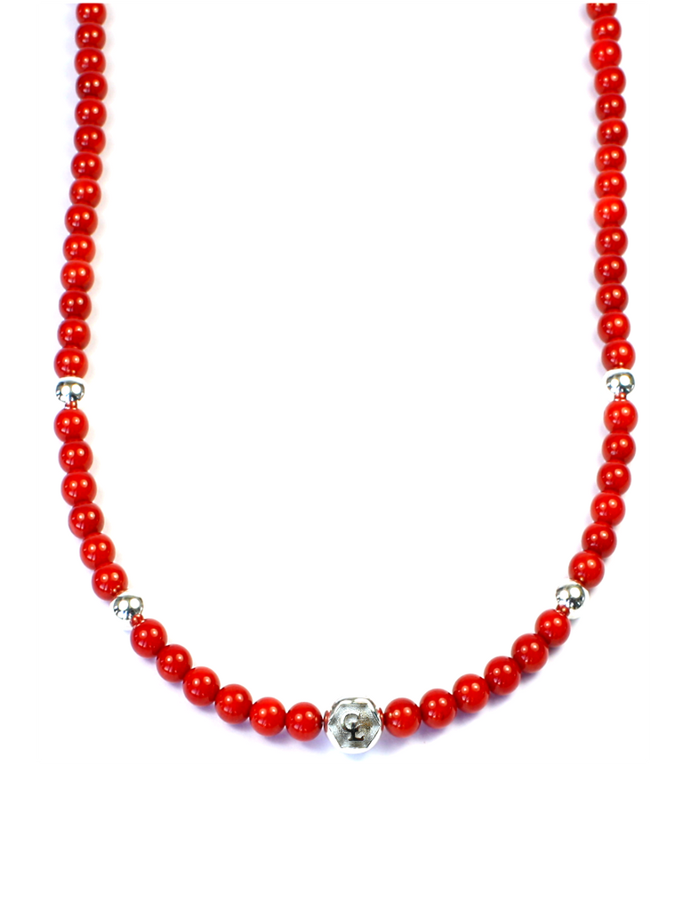 Men's Beaded Necklace with Red Coral and Silver
