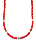 Men's Beaded Necklace with Red Coral and Silver | Clariste Jewelry