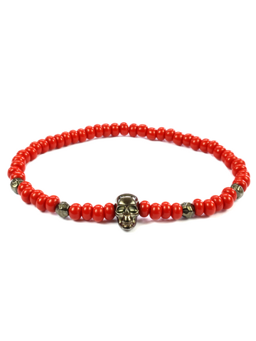 Men's Skull Bracelet Red and Black