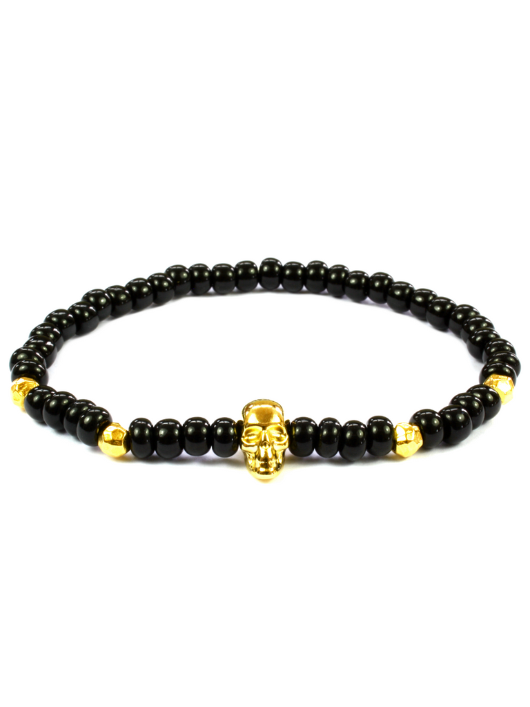 Men's Skull Bracelet Black and Gold