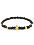 Men's Skull Bracelet Black and Gold | Clariste Jewelry