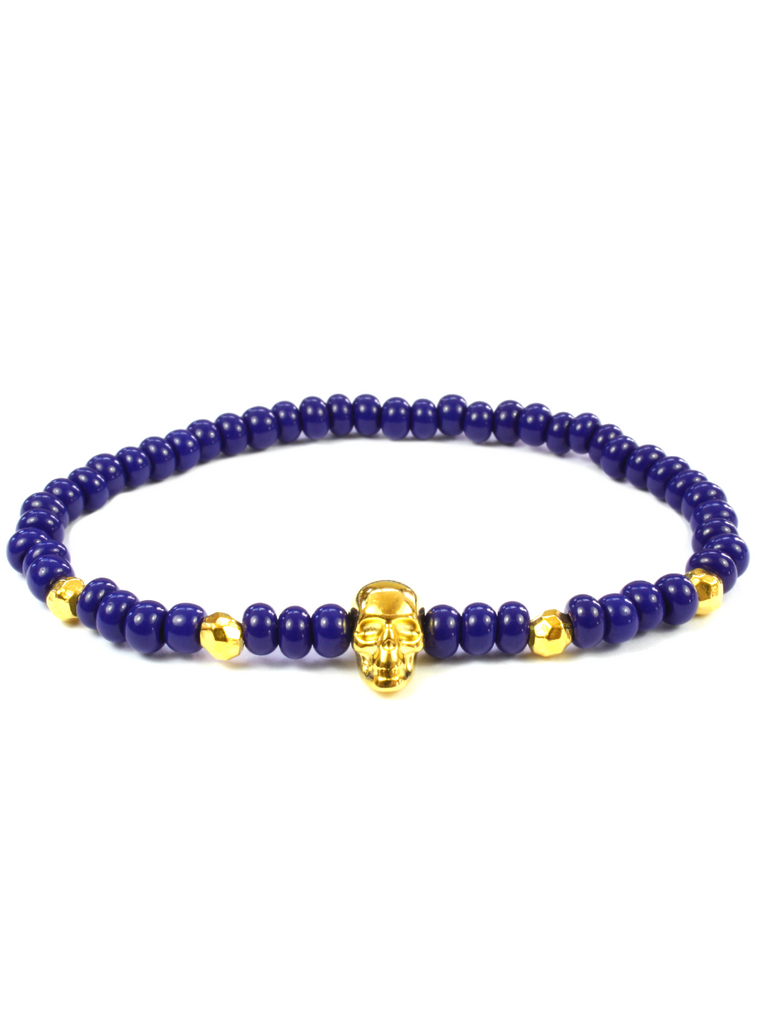 Men's Skull Bracelet Blue and Gold