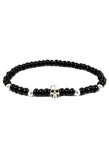 Men's Skull Bracelet Black and Silver
