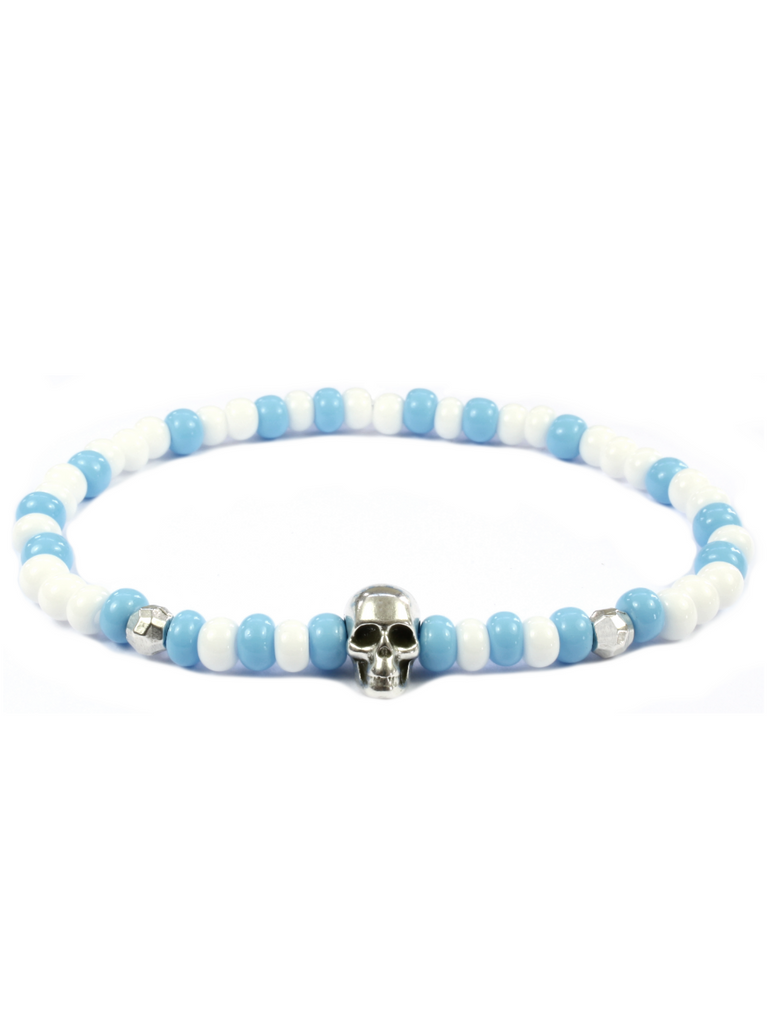 Men's Skull Bracelet Blue, White and Silver