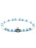 Men's Skull Bracelet Blue, White and Silver | Clariste Jewelry