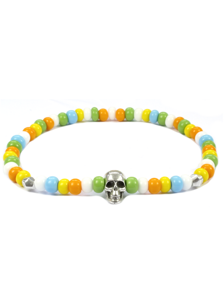 Men's Skull Bracelet Orange, Green, Yellow and Silver