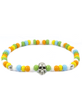 Men's Skull Bracelet Orange, Green, Yellow and Silver | Clariste Jewelry