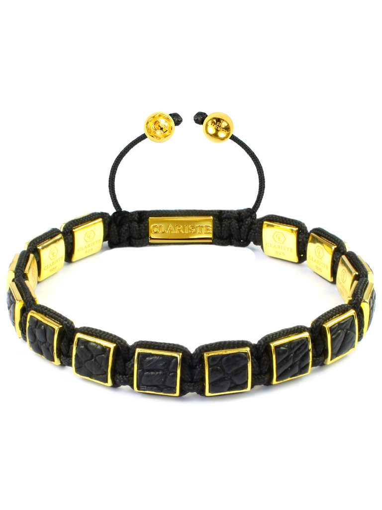 Men's Black Crocodile Square Bead Bracelet Gold