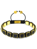 Men's Black Crocodile Square Bead Bracelet Gold | Clariste Jewelry