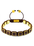 Men's Brown Crocodile Square Bead Bracelet Gold | Clariste Jewelry