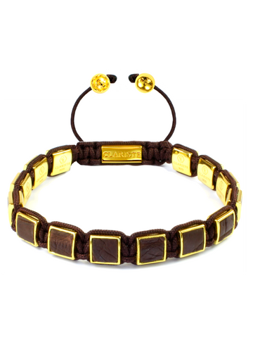 Men's Brown Crocodile Square Bead Bracelet Gold