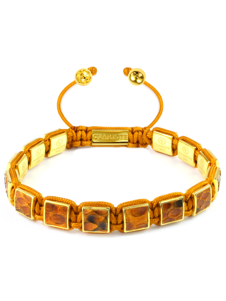 Men's Brown Python Square Bead Bracelet Gold