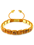 Men's Brown Python Square Bead Bracelet Gold | Clariste Jewelry
