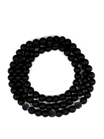 Men's Triple Wrap Bracelet with Matte Onyx Black
