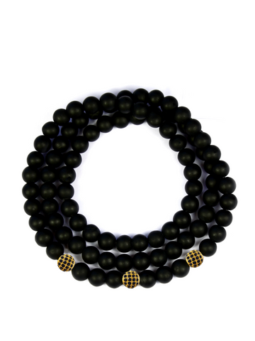 Men's Triple Wrap Bracelet with Matte Onyx Gold