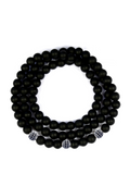 Men's Triple Wrap Bracelet with Matte Onyx Silver - Clariste Jewelry