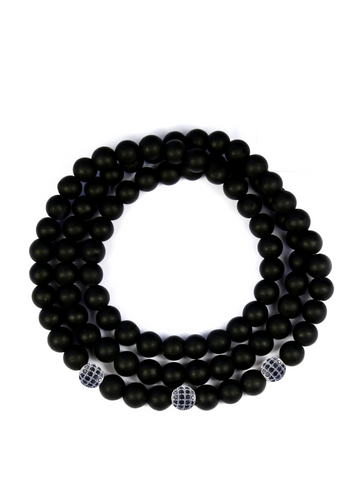 Men's Triple Wrap Bracelet with Matte Onyx Silver