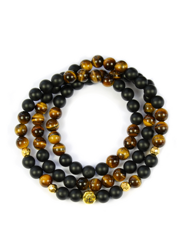 Men's Triple Wrap Bracelet with Brown Tiger Eye and Matte Onyx