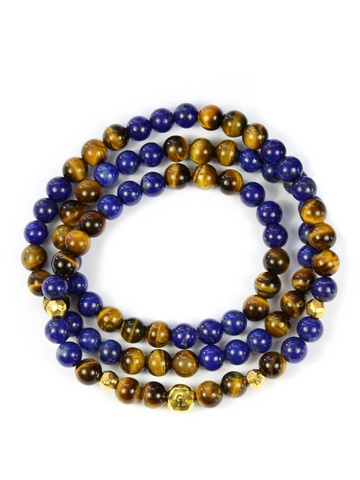 Men's Triple Wrap Bracelet with Blue Lapis and Brown Tiger Eye