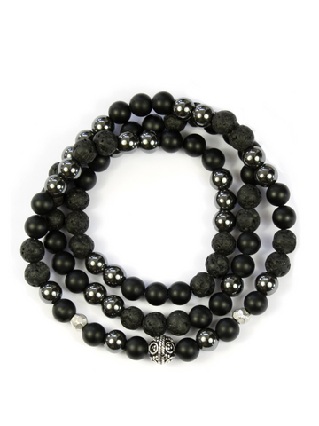 Men's Triple Wrap Bracelet with Lava Stone, Hematite, Matte Onyx and Bali Bead
