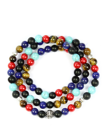 Men's Triple Wrap Bracelet with Matte Onyx, Brown Tiger Eye, Blue Lapis, Turquoise and Red Glass Beads