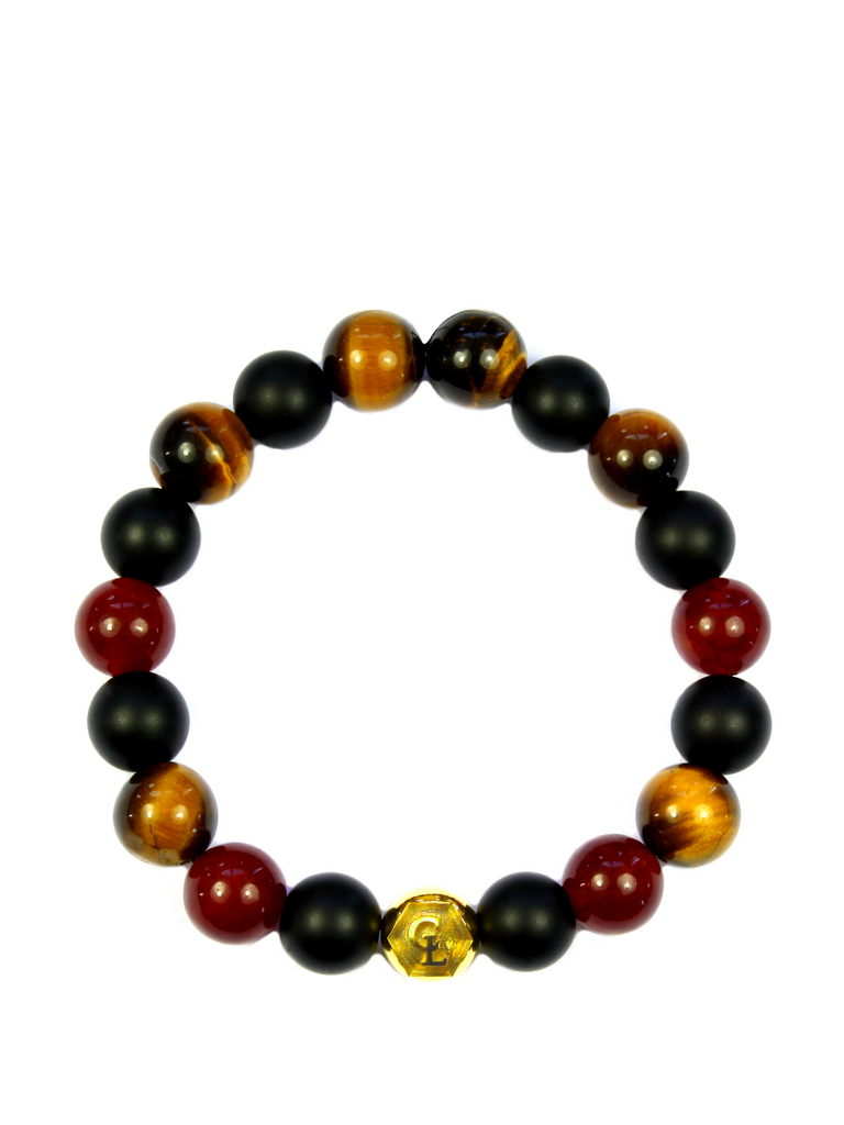 Men's Wristband with Red Jade, Matte Onyx, Brown Tiger Eye and Gold