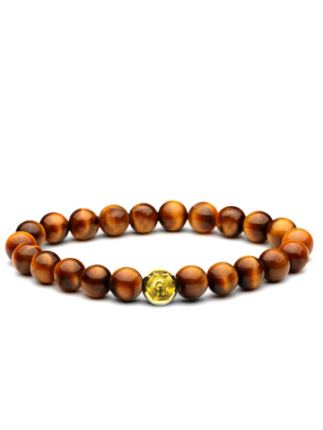 Men's Wristband with Brown Tiger Eye Gold