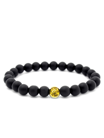 Men's Wristband with Matte Onyx Gold
