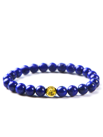Men's Wristband with Blue Lapis Gold
