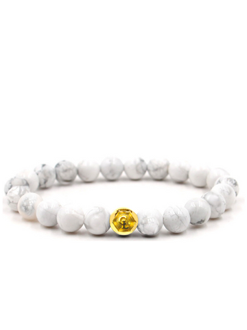 Men's Wristband with Howlite Gold