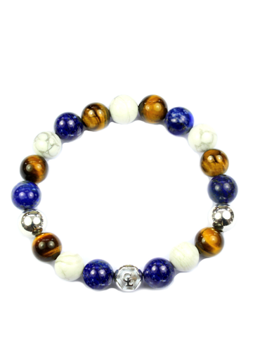 Men's Wristband with Blue Lapis, Brown Tiger Eye, Howlite and Silver