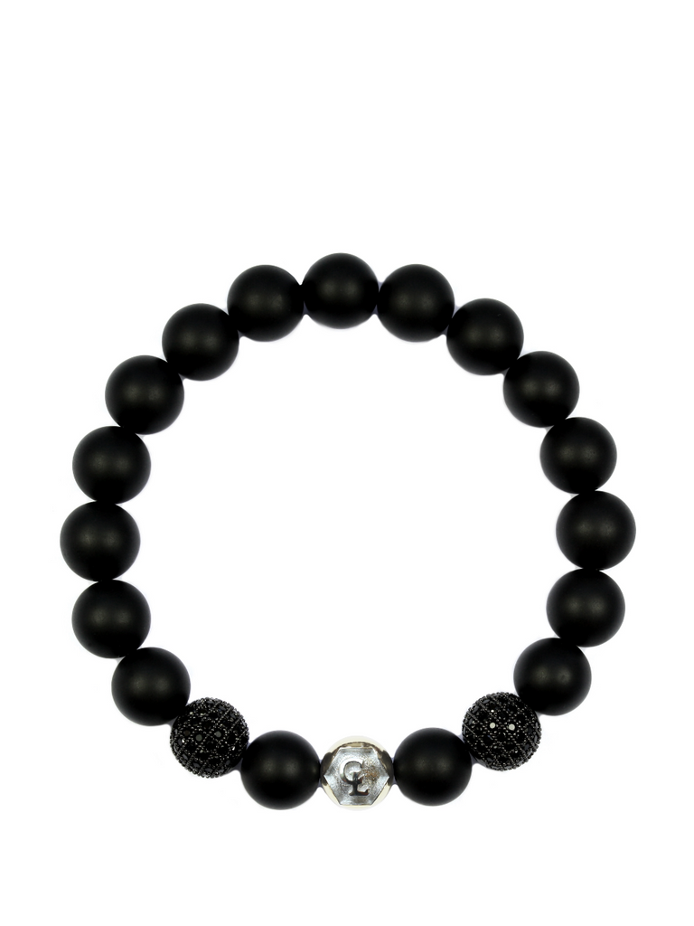 Men's Wristband with Matte Onyx, CZ Diamonds and Silver