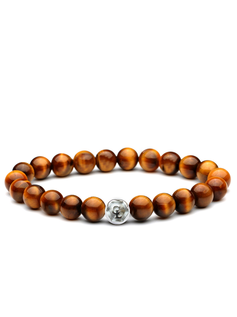 Men's Wristband with Brown Tiger Eye Silver