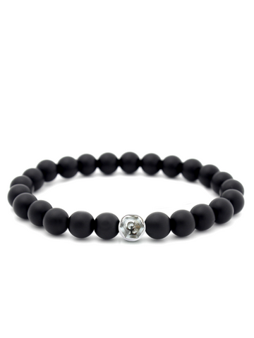 Men's Wristband with Matte Onyx Silver